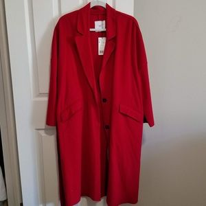MNG Red Belted Wool Coat Long